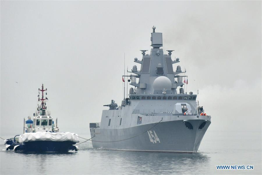 Russian navy\'s guided missile frigate Admiral Gorshkov arrives in the port city of Qingdao, east China\'s Shandong Province, April, 21, 2019, to join multinational naval events commemorating the 70th anniversary of the founding of the Chinese People\'s Liberation Army (PLA) Navy. The events will be held between April 22 and 25 and a naval parade will be held in Qingdao and nearby sea areas and airspace on April 23. (Xinhua/Zhu Zheng)