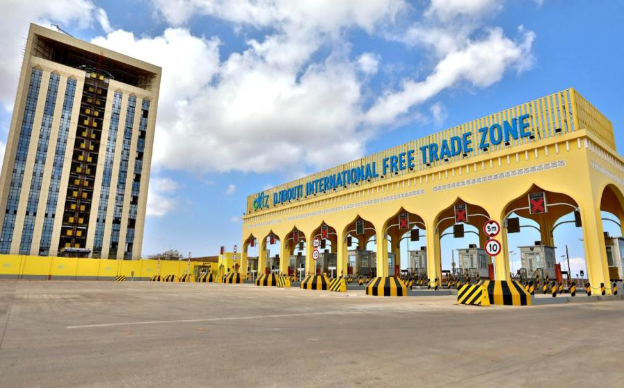 <?php echo strip_tags(addslashes(A view of the Djibouti International Free Trade Zone during the zone's inauguration ceremony in Djibouti on Dec. 9, 2018. (Photo/Xinhua)