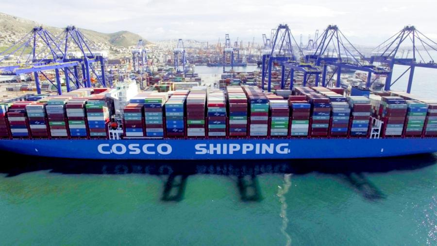 The Cosco Shipping Taurus docks at Piraeus on Feb. 26, 2018. (Photo/Xinhua)