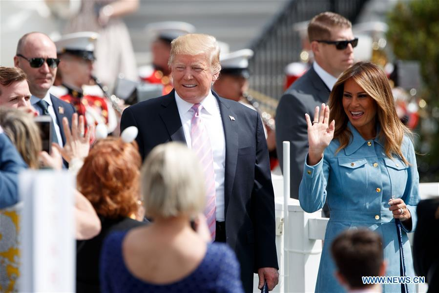 U.S. President Donald Trump (central L) and First Lady Melania Trump (central R) attend the annual Easter Egg Roll at the White House in Washington D.C., the United States, on April 22, 2019. White House Easter Egg Roll was held on the South Lawn on Monday as the annual tradition entered its 141st year. (Xinhua/Ting Shen)