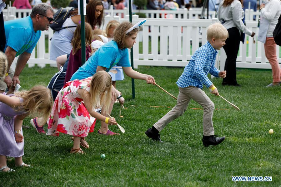 Children take part in the annual Easter Egg Roll at the White House in Washington D.C., the United States, on April 22, 2019. White House Easter Egg Roll was held on the South Lawn on Monday as the annual tradition entered its 141st year. (Xinhua/Ting Shen)