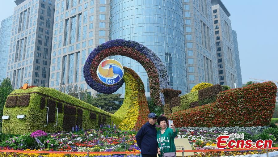 Decorative floral arrangements are installed all over Beijing to welcome the second Belt and Road Forum for International Cooperation (BRF), April 22, 2019. The theme of the second BRF, to be held from April 25 to 27, is, \