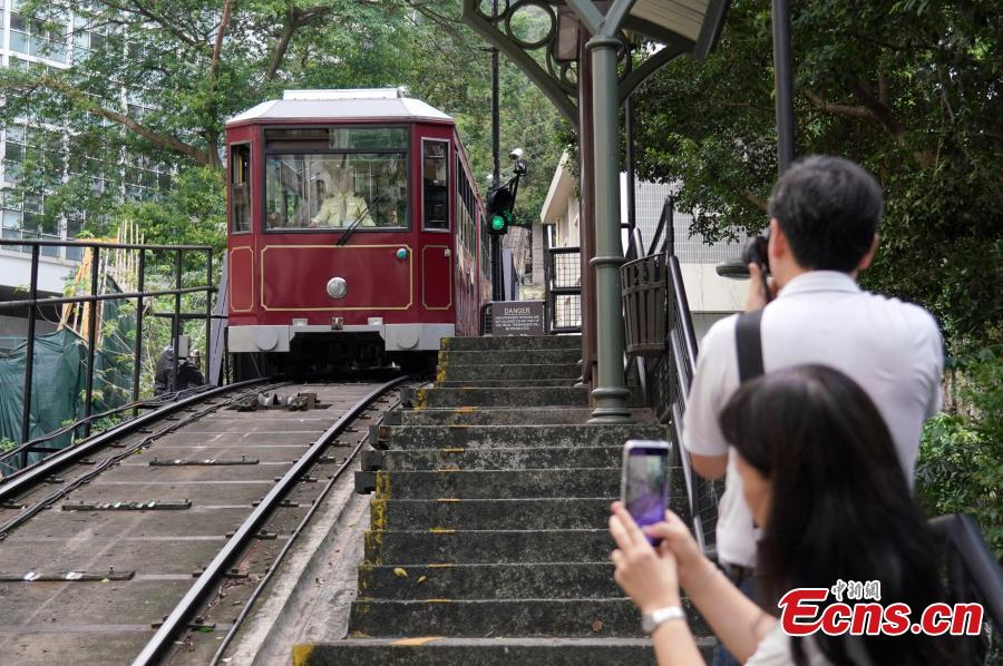 A view of Hong Kong\'s Peak Tram, one of the world\'s oldest and most famous funicular railways, April 22, 2019. A project to upgrade the tram will involve a significant investment of HK$684 million, replacing the current tram cars, which have a capacity of 120 passengers, with new 210-passenger tram cars. The first suspension of the Peak Tram service will begin on April 23 and last approximately two to three months. (Photo: China News Service/Zhang Wei)