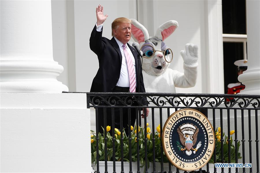 U.S. President Donald Trump attends the annual Easter Egg Roll at the White House in Washington D.C., the United States, on April 22, 2019. White House Easter Egg Roll was held on the South Lawn on Monday as the annual tradition entered its 141st year. (Xinhua/Ting Shen)