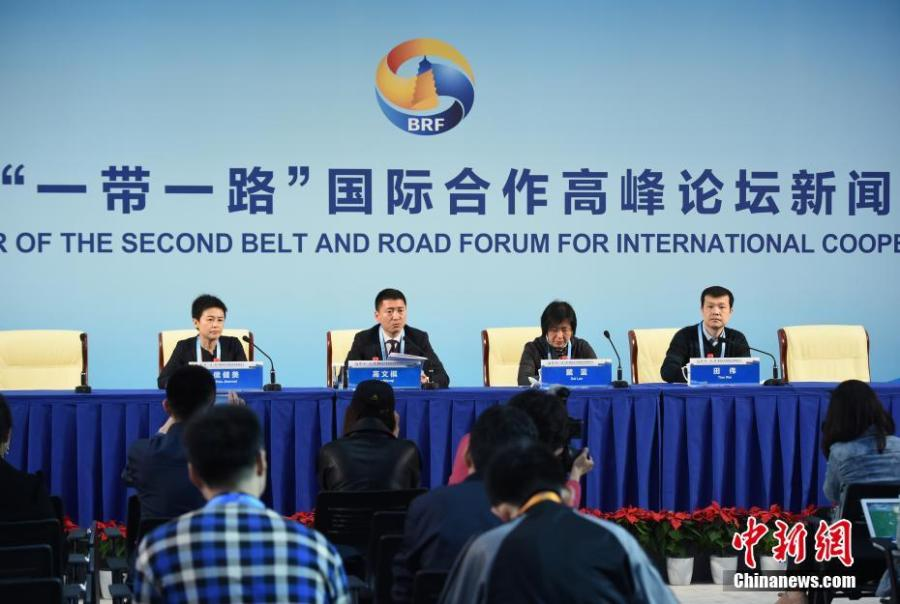 A venue for volunteers inside the media center for the second Belt and Road Forum for International Cooperation (BRF) in Beijing, April 23, 2019. Over 4,100 reporters have registered to cover the forum, including more than 1,600 from abroad. (Photo: China News Service/Hou Yu)