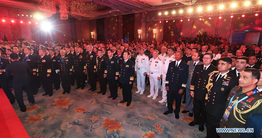The opening ceremony of the multinational naval events commemorating the 70th founding anniversary of the Chinese People\'s Liberation Army Navy is held in Qingdao, east China\'s Shandong Province, April 22, 2019. (Xinhua/Ju Zhenhua)