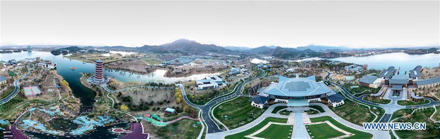 Stitched aerial photo taken on April 1, 2019 shows the scenery of Yanqi Lake in Beijing, capital of China. The second Belt and Road Forum for International Cooperation is to be held on April 25-27 in Beijing. (Xinhua/Yin Gang)