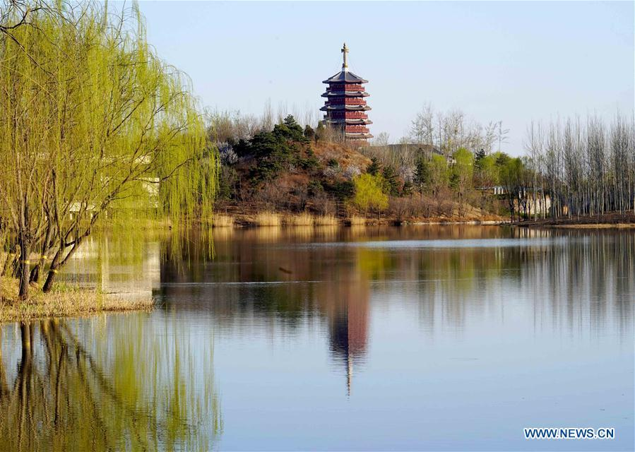 Photo taken on April 2, 2019 shows the scenery of Yanqi Lake in Beijing, capital of China. The second Belt and Road Forum for International Cooperation is to be held on April 25-27 in Beijing. (Xinhua/Chen Jianli)