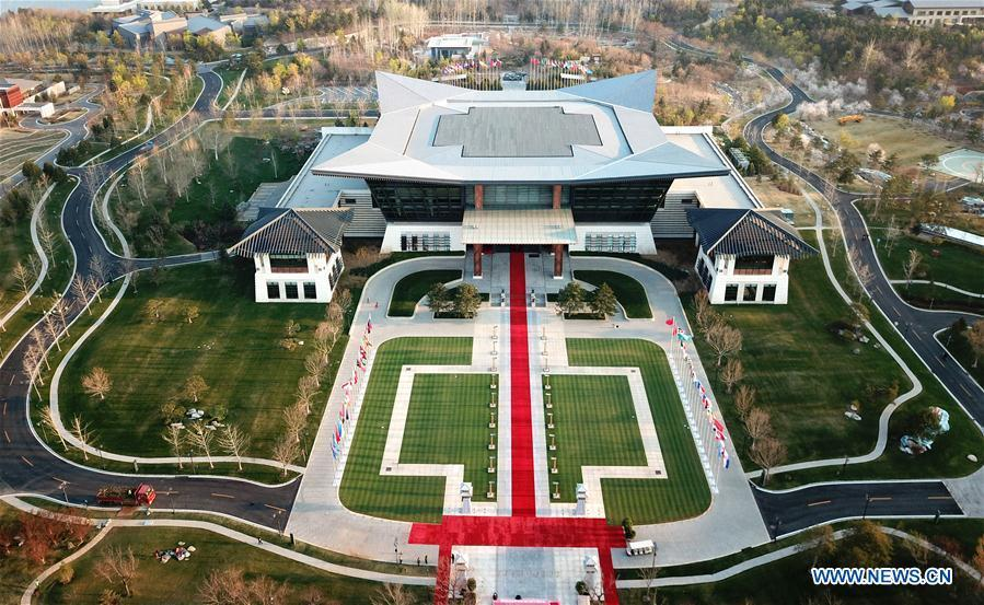 Aerial photo taken on April 4, 2019 shows the scenery of Yanqi Lake International Convention Center in Beijing, capital of China. The second Belt and Road Forum for International Cooperation is to be held on April 25-27 in Beijing. (Xinhua/Cai Yang)