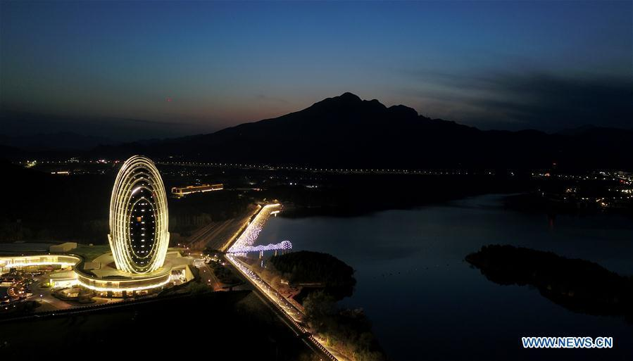 Aerial photo taken on April 1, 2019 shows the night view of the Sunrise East Kempinski Hotel by Yanqi Lake in Beijing, capital of China. The second Belt and Road Forum for International Cooperation is to be held on April 25-27 in Beijing. (Xinhua/Chen Yehua)