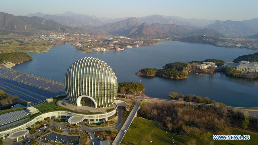 Aerial photo taken on April 2, 2019 shows the scenery of Yanqi Lake in Beijing, capital of China. The second Belt and Road Forum for International Cooperation is to be held on April 25-27 in Beijing. (Xinhua/Chen Yehua)