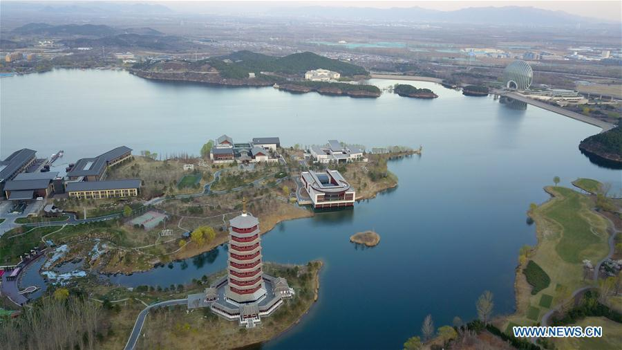 Aerial photo taken on April 1, 2019 shows the scenery of Yanqi Lake in Beijing, capital of China. The second Belt and Road Forum for International Cooperation is to be held on April 25-27 in Beijing. (Xinhua/Chen Yehua)