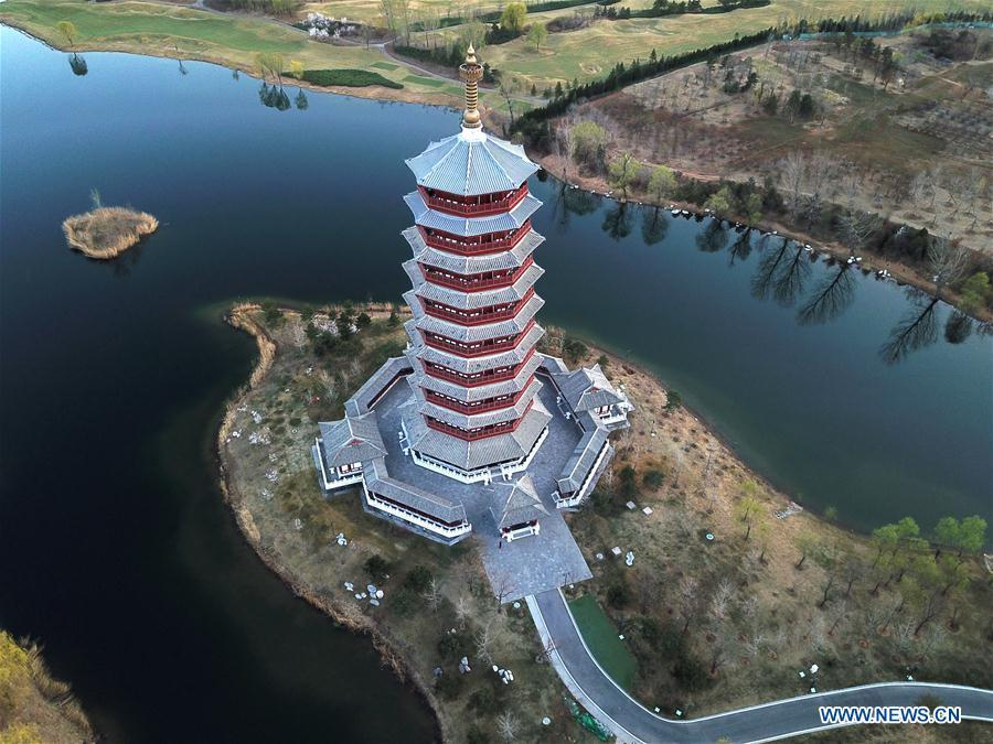 Aerial photo taken on April 3, 2019 shows the scenery of Yanqi Lake in Beijing, capital of China. The second Belt and Road Forum for International Cooperation is to be held on April 25-27 in Beijing. (Xinhua/Cai Yang)