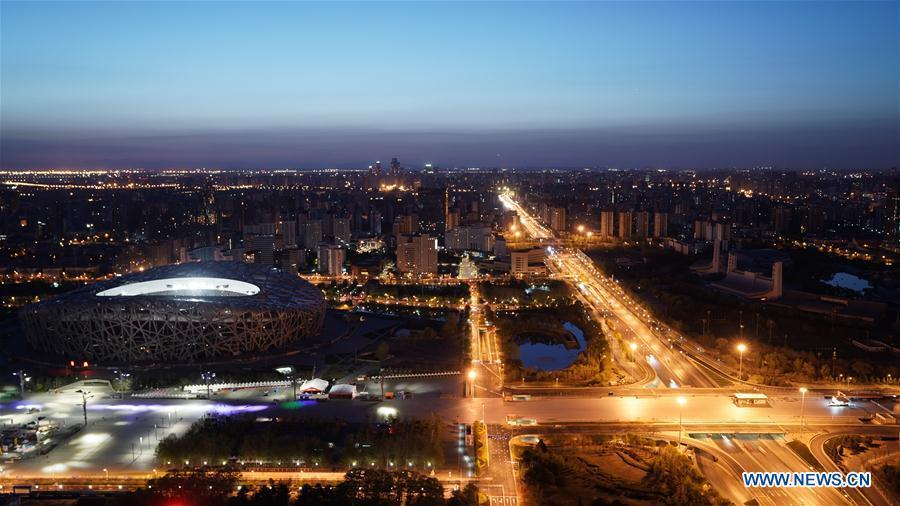 Photo taken on April 14, 2019 shows the scenery of the National Stadium, also known as the Bird\'s Nest, in Beijing, capital of China. The second Belt and Road Forum for International Cooperation is to be held on April 25-27 in Beijing. (Xinhua/Jin Liwang)