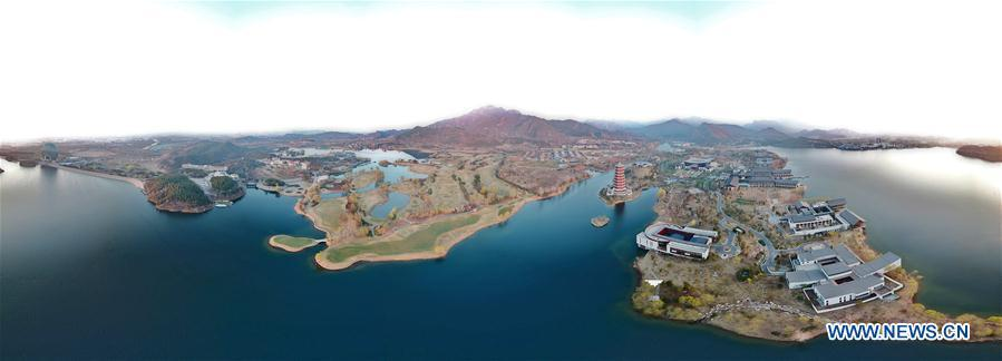 Stitched aerial photo taken on April 3, 2019 shows the scenery of Yanqi Lake in Beijing, capital of China. The second Belt and Road Forum for International Cooperation is to be held on April 25-27 in Beijing. (Xinhua/Chen Jianli)