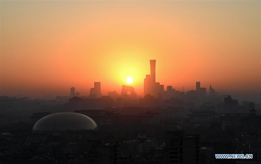 Photo taken on April 15, 2019 shows the sunrise scenery of Beijing, capital of China. The second Belt and Road Forum for International Cooperation is to be held on April 25-27 in Beijing. (Xinhua/Chen Yehua)