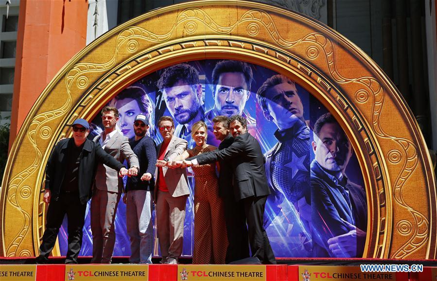 Marvels Studios president Kevin Feige, actors Chris Hemsworth, Chris Evans, Robert Downey Jr., actress Scarlett Johansson, actors Jeremy Renner, Mark Ruffalo (From L to R) attend their print ceremony in the forecourt of the TCL Chinese Theater in Los Angeles, the United States, April 23, 2019. The cast of Marvel Studios \