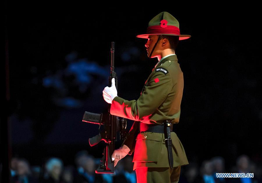 A soilder gestures during the ANZAC Day ceremony in Christchurch, New Zealand, April 25, 2019. Anzac Day marks the April 25, 1915 landing of Australian and New Zealand troops at Gallipoli on the Turkish peninsula in an ill-fated WWI campaign against the German-backed Ottoman forces. More than 10,000 Australian and New Zealand servicemen died in the campaign, and while it failed in its military objectives, it gave rise to commemorations of the courage and close friendship that bind the two countries. (Xinhua/Zhu Qiping)