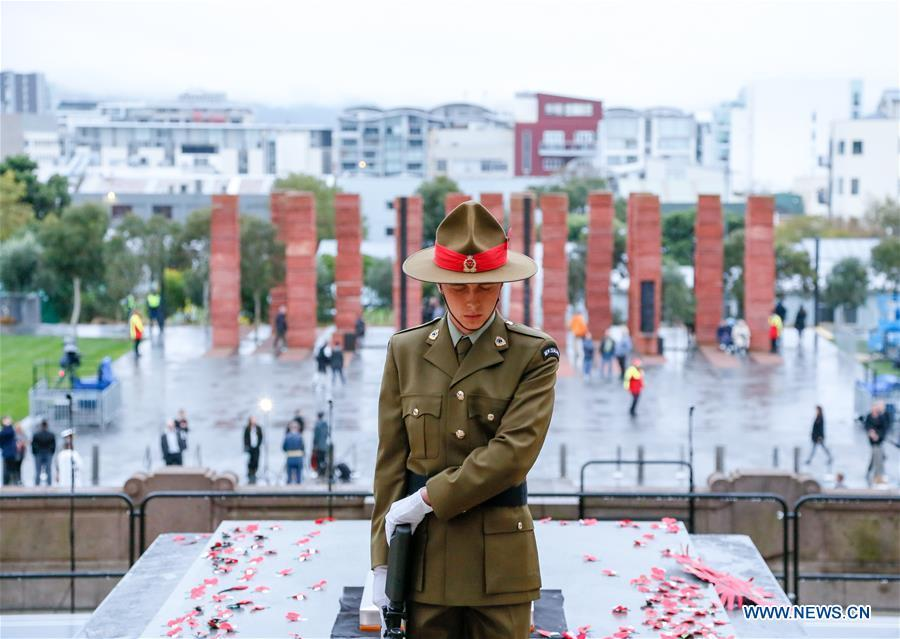 A soilder gestures during the ANZAC Day ceremony in Wellington, New Zealand, April 25, 2019. Anzac Day marks the April 25, 1915 landing of Australian and New Zealand troops at Gallipoli on the Turkish peninsula in an ill-fated WWI campaign against the German-backed Ottoman forces. More than 10,000 Australian and New Zealand servicemen died in the campaign, and while it failed in its military objectives, it gave rise to commemorations of the courage and close friendship that bind the two countries. (Xinhua/Guo Lei)