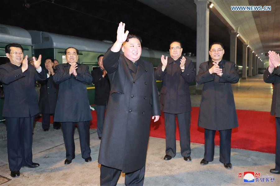 Photo provided by Korean Central News Agency (KCNA) shows top leader of the Democratic People\'s Republic of Korea (DPRK) Kim Jong Un leaving for Russia on a private train at dawn in Pyongyang, DPRK, on April 24, 2019. During the visit, which is at the invitation of Russian President Vladimir Putin, Kim will have talks with the Russian president, according to a KCNA report Tuesday. (Xinhua/KCNA)