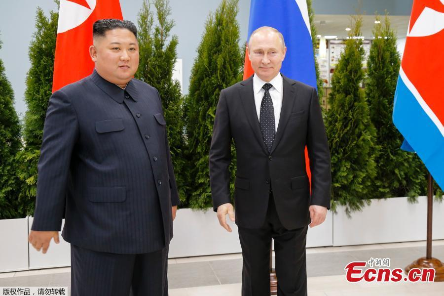 Russian President Vladimir Putin meets with DPRK top leader Kim Jong-un at the Far Eastern Federal University campus at Russky Island in the city of Vladivostok, Russia, April 25, 2019. (Photo/Agencies)