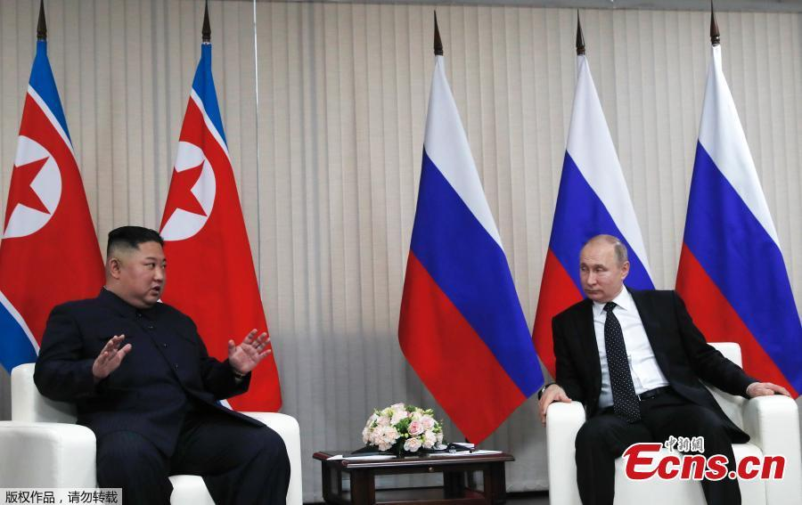 Russian President Vladimir Putin and DPRK top leader Kim Jong-un sit down before their talks at the Far Eastern Federal University campus at Russky Island in the city of Vladivostok, Russia, April 25, 2019. (Photo/Agencies)