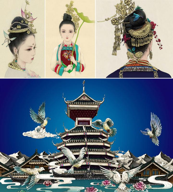 A composite of drawings by Lan Caisheng. (Photo/Xinhua) A gallery of drawings capturing the culture of Miao and Dong ethnic groups in Zhaoxing Dong village, Liping county, Southwest China\'s Guizhou Province, has become a hit among locals and tourists.  The 28-year-old Lan Caisheng, a member of the Dong ethnic group, set up the gallery after returning to his hometown following graduation from university in 2015.  \