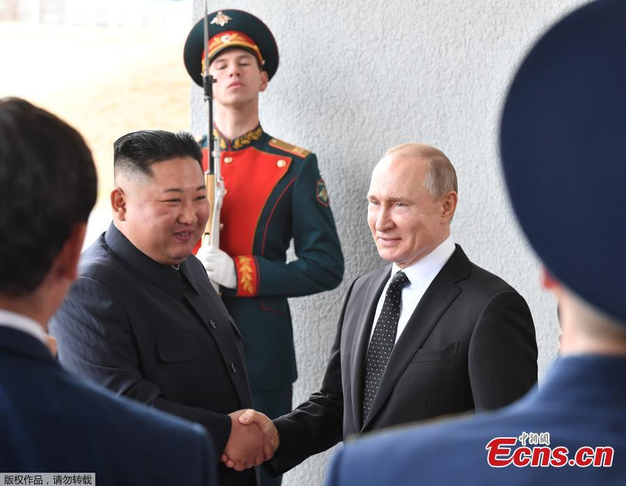 Russian President Vladimir Putin and DPRK top leader Kim Jong-un shake hands before their talks at the Far Eastern Federal University campus at Russky Island in the city of Vladivostok, Russia, April 25, 2019. (Photo/Agencies)