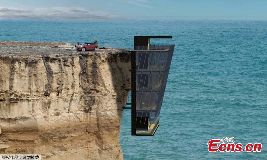 Photo shows the concept house pinned to the side of a cliff with unrivalled views of the Indian Ocean, April 25, 2019. (Photo/Agencies)  Australian prefab architecture specialists Modscape Concept have designed an exciting five story home that clings to a cliff\'s edge. The Cliff House will extend off a vertical rock face and be anchored to the cliff side with support beams. Each floor of the five-storey dwelling will be held together by engineered steel pins