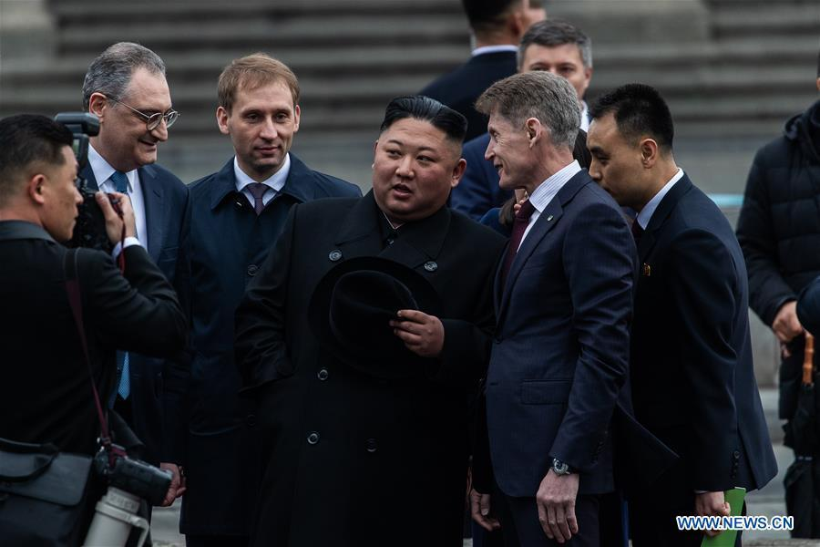 Top leader of the Democratic People\'s Republic of Korea (DPRK) Kim Jong Un attends the welcome ceremony in Vladivostok, Russia, April 24, 2019. Kim Jong Un arrived here in his train on Wednesday for his first meeting with Russian President Vladimir Putin on Thursday. (Xinhua/Bai Xueqi)