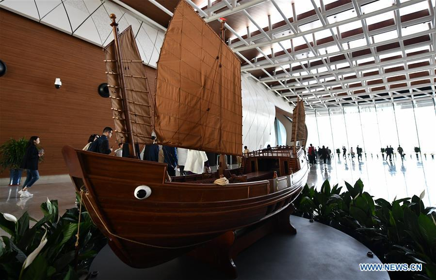 Photo taken on April 25, 2019 shows part of the inside view of the national maritime museum in Binhai New Area, north China\'s Tianjin. China\'s first national maritime museum has scheduled trial operation for May 1, local authorities said Thursday. Four exhibition halls, which focus on the themes of \