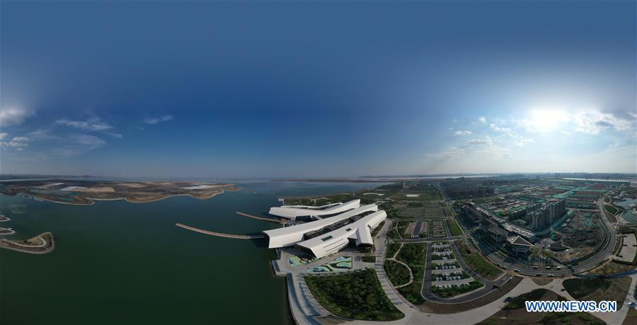 Aerial photo taken on April 25, 2019 shows the panoramic view of the national maritime museum in Binhai New Area, north China\'s Tianjin. China\'s first national maritime museum has scheduled trial operation for May 1, local authorities said Thursday. Four exhibition halls, which focus on the themes of \