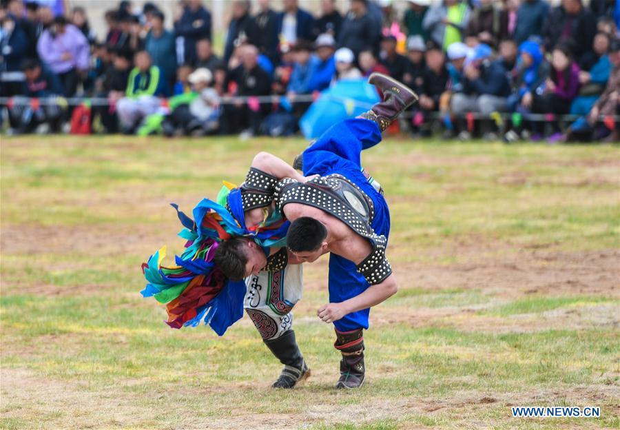 Competitors wrestle at the Genghis Khan Chagan Suluk Nadam Fair in Ejin Horo Banner of Ordos City, north China\'s Inner Mongolia Autonomous Region, April 24, 2019. The two-day fair kicked off on Wednesday, including a variety of traditional activities. (Xinhua/Peng Yuan)