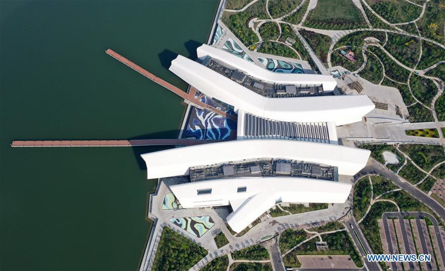 Photo taken on April 25, 2019 shows the outside view of the national maritime museum in Binhai New Area, north China\'s Tianjin. China\'s first national maritime museum has scheduled trial operation for May 1, local authorities said Thursday. Four exhibition halls, which focus on the themes of \