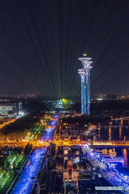 Photo taken on April 26, 2019 shows a view along the central north-south axis in Beijing, capital of China. Roads and buildings along the central axis were highlighted Friday evening for the Second Belt and Road Forum for International Cooperation in Beijing. (Xinhua/Cai Yang)