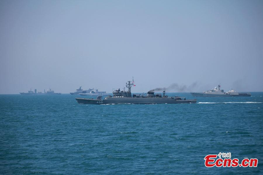 Foreign naval vessels participate in a joint naval exercise on the sea off Qingdao, east China\'s Shandong Province, April 26, 2019.  China conducted a joint naval exercise with Southeast Asian countries in Qingdao, with focus on jointly handling maritime emergency rescues. (Photo: China News Service/Li Chun)