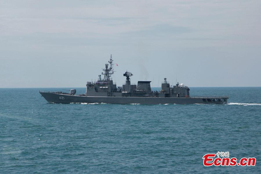A Thailand naval vessel participates in a joint naval exercise on the sea off Qingdao, east China\'s Shandong Province, April 26, 2019.  China conducted a joint naval exercise with Southeast Asian countries in Qingdao, with focus on jointly handling maritime emergency rescues. (Photo: China News Service/Li Chun)