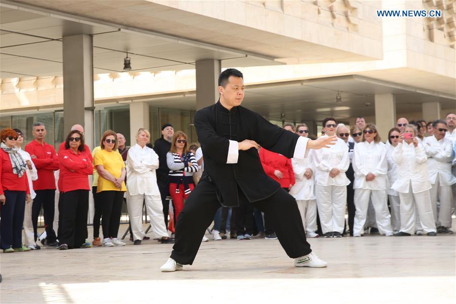 A Chinese Taiji master practices Taiji in Valletta, capital of Malta on April 27, 2019. The World Taiji (Tai Chi) Day was celebrated on Saturday in Valletta, with a series of Chinese Taiji performances. (Xinhua/Yuan Yun)