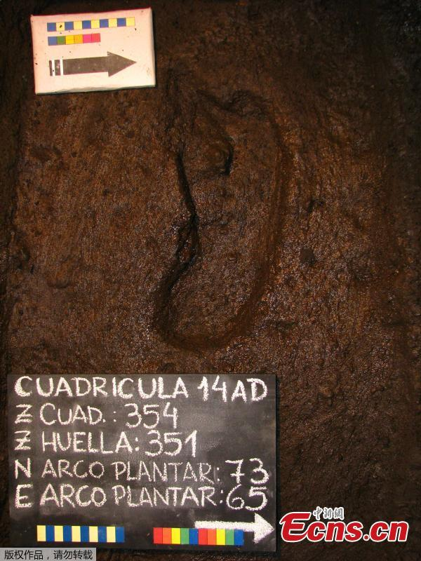 A 15,600-year-old footprint is pictured in Osorno, Chile after its discovery in 2010. (Photo/Agencies)
