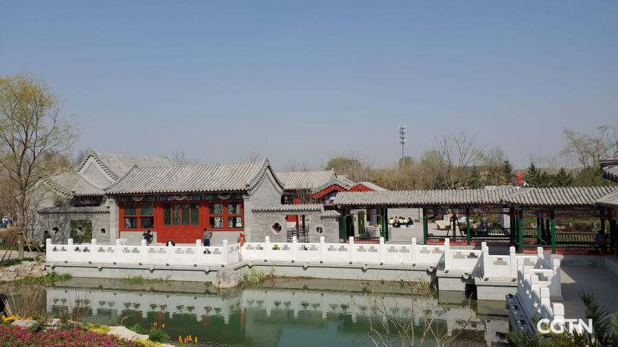 Located just a few steps away from the China Pavilion of the Beijing 2019 International Exhibition, the Beijing Garden is an epitome of the traditional Siheyuan, a historical type of residence in Beijing.  (Photo/CGTN)