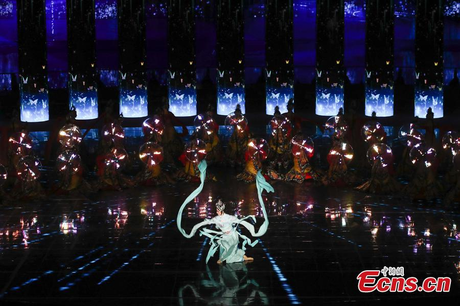 Photo taken on April 28, 2019 shows the opening ceremony of the International Horticultural Exhibition 2019 Beijing in Yanqing District of Beijing, China. Themed on \
