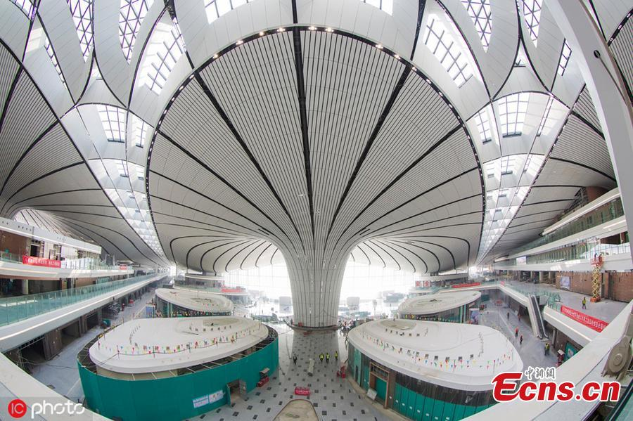 Photo taken on April 26, 2019 shows a view of the Beijing Daxing International Airport, which will begin operations before the end of September. The new airport sits at the junction of Beijing\'s southern Daxing District and Langfang, a city in Hebei Province. It is expected to handle 45 million passengers annually by 2021 and 72 million by 2025. (Photo/IC)