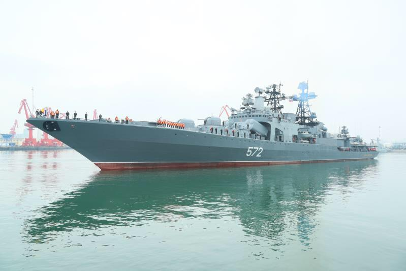 The large anti-submarine ship Admiral Vinogradov of the Russian navy arrives at Qingdao Port for the Sino-Russia Joint Sea 2019 naval exercise on Monday, April 29, 2019. (Photo/China Plus)