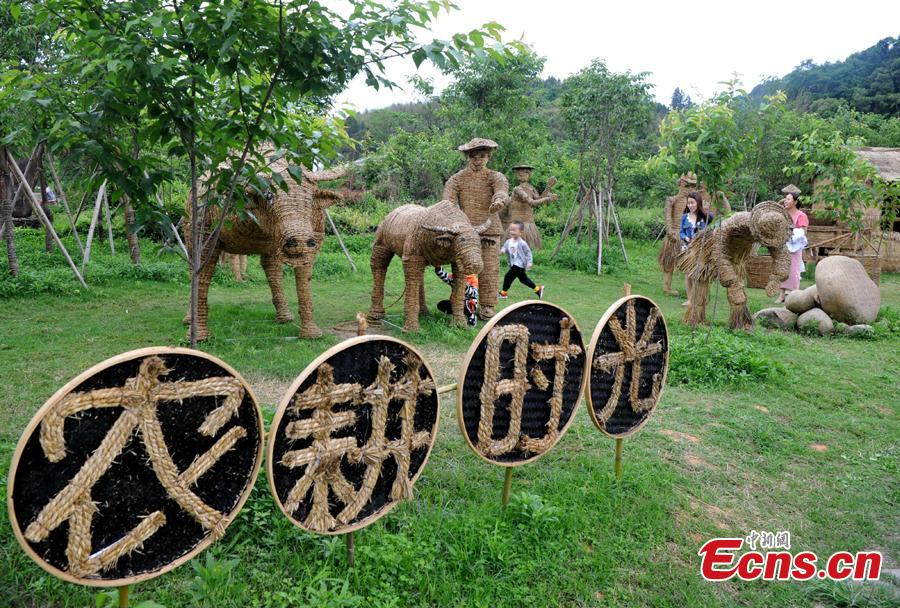 Straw-made creations including an elephant, a kangaroo, a harvester and a tractor in the Huatian Xigu scenic area, known for its rural charms, in Chongqing, April 28, 2019. The eye-catching creations are a particular draw for tourists. (Photo: China News Service/Chen Chao)