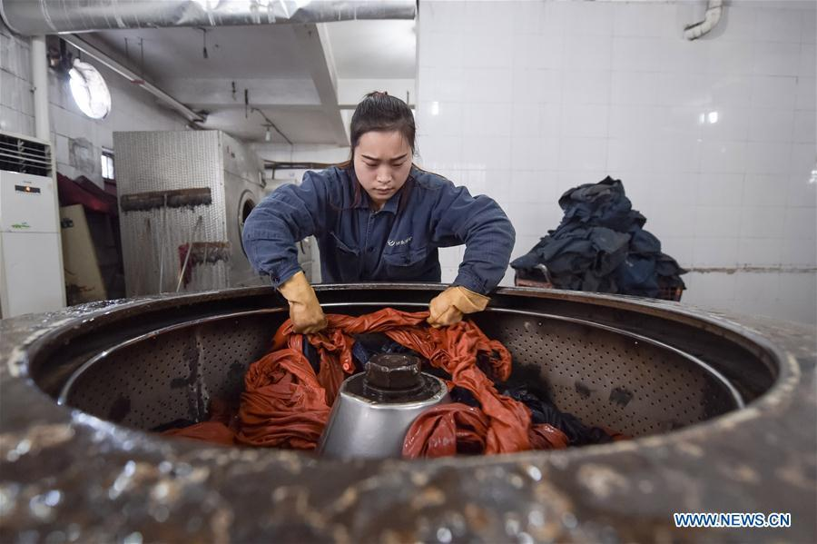 Zhang Jing, a laundress born in the 1990s, works at a laundry in Qidong coalmine in Suzhou City, east China\'s Anhui Province, Jan. 26, 2016. Zhang washes and dries over 2,000 sets of clothes every day for coalminers since she got the job in 2013. A nation will prosper only when its young people thrive; a country will be full of hope and have a great tomorrow only when its younger generations have ideals, ability, and a strong sense of responsibility. Young people always play a vanguard role in realizing national rejuvenation, which is the mission of the Chinese youth in the new era. In China many young people realize the value of life through hard work. They are writing a brilliant chapter worthy of our times in their efforts to take advantage of their youthful vigor, explore life and contribute to society. (Xinhua/Zhang Duan)
