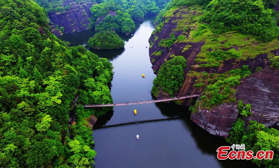 This undated aerial photo shows the beautiful landscape of the Donghuzhai Scenic Area in Xiushui County, Jiangxi Province. (Photo/Liu Zhankun)