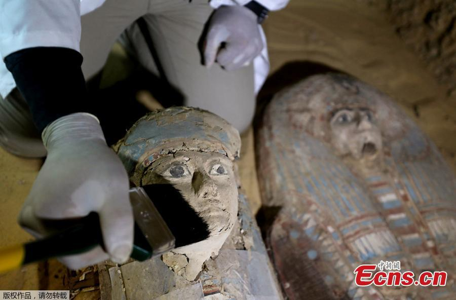 Two ancient sarcophagi are seen at the newly discovered burial site, the Tomb of Behnui-Ka and Nwi,  dating back to circa 2500 B.C. near the Great Pyramids in Giza, on the outskirts of Cairo, Egypt May 4, 2019.