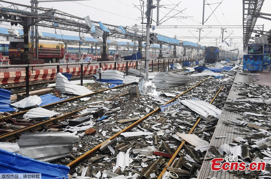 Debris litters the train tracks at the damaged railway station in Puri in the eastern Indian state of Odisha on May 4, 2019, after Cyclone Fani swept through the area. Cyclone Fani, one of the biggest to hit India in years, barreled into Bangladesh on May 4 after leaving a trail of deadly destruction in India. (Photo/Agencies)