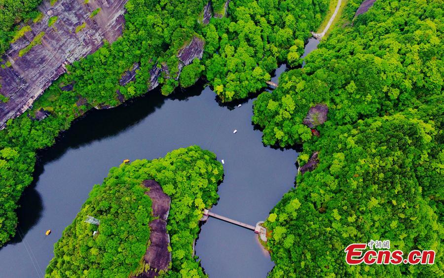 This undated aerial photo of the beautiful landscape of the Donghuzhai Scenic Area in Xiushui County, Jiangxi Province. (Photo/Liu Zhankun)