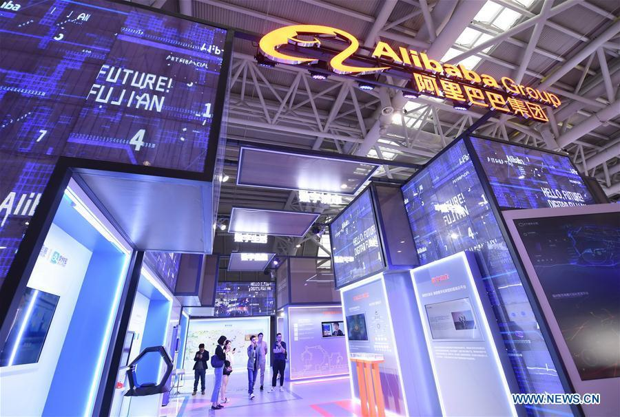 Photo taken on May 5, 2019 shows the booth of Alibaba Group at the 2nd Digital China Exhibition in Fuzhou, southeast China\'s Fujian Province. The 2nd Digital China Exhibition runs from May 5 to 9 at the Fuzhou Strait International Conference & Exhibition Center. (Xinhua/Lin Shanchuan)
